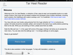 Tar Heel Reader running full screen